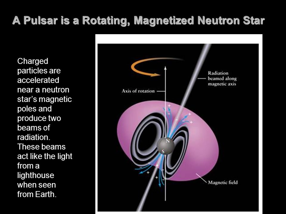 A Pulsar is a Rotating, Magnetized Neutron Star Charged particles are accelerated near a neutron star's magnetic poles and produce two beams of radiation.