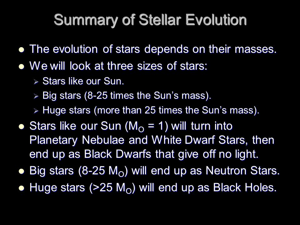 Summary of Stellar Evolution The evolution of stars depends on their masses.