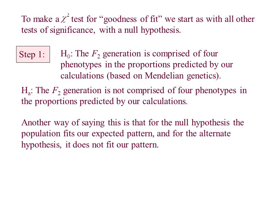 To make a test for goodness of fit we start as with all other tests of significance, with a null hypothesis.