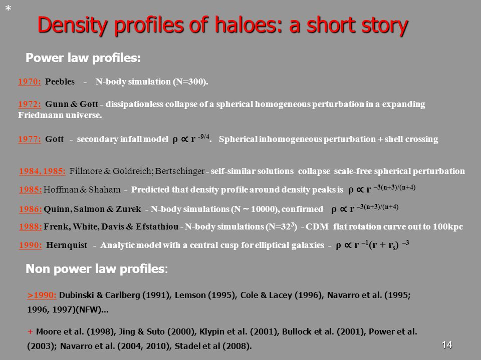 14 Density profiles of haloes: a short story * 1970: Peebles - N-body simulation (N=300).