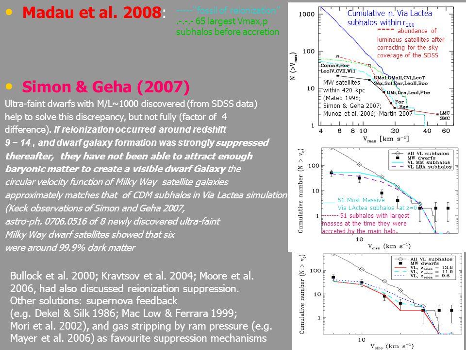 56 –ΛCDM model problems at small scales (satellites, cusp/core, L, TBTF) –Solvable introducing baryon physics –Dissipationless numerical simulations -> cusps –Galactic rotation curves -> usually cores –Clusters of galaxies-> mainly cuspy profiles –Cusp/Core problem GENUINE (the disagreement between observations and N-body simulations is not due to numerical artifacts or problems with simulations) –BUT APPARENT (disagreement related to the fact that the simulations are not taking account of baryons physics) –Comparing pears and apple: dissipationless (i.e., DM) and the other dissipational (i.e., inner part of structures) –Perspectives: in the future it necessary to run SPH simulations that repeat the mass modeling including a self-consistent treatment of the baryons and DM component in a larger extent than it was done.