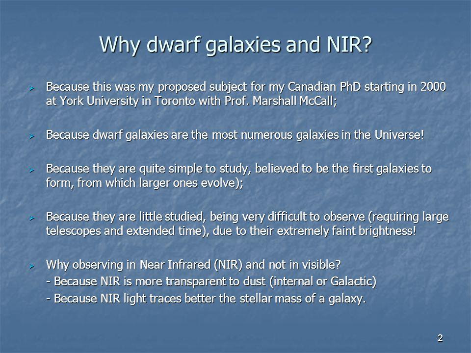 2 Why dwarf galaxies and NIR.