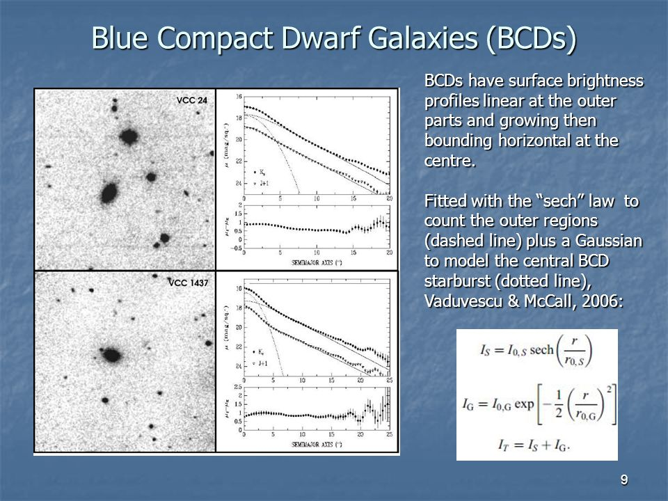 10 BCDs and the dIs FP Blue Compact Dwarfs (BCDs) appear to be located on the Fundamental Plane (FP) defined by the dwarf irregulars (dIs).