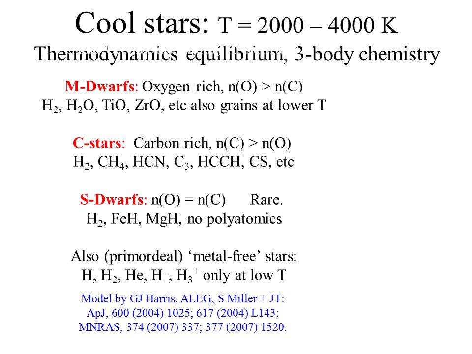 Also sub-stellar objects: CO less important Brown Dwarfs: T ~ 1500 K H 2, H 2 O, CH 4 T-Dwarfs: T ~ 1000K 'methane stars' Y-Dwarfs: T < 1000K ammonia signature.