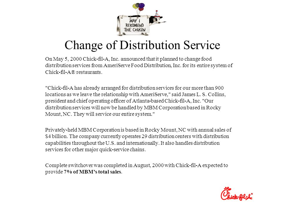 Change of Distribution Service On May 5, 2000 Chick-fil-A, Inc.