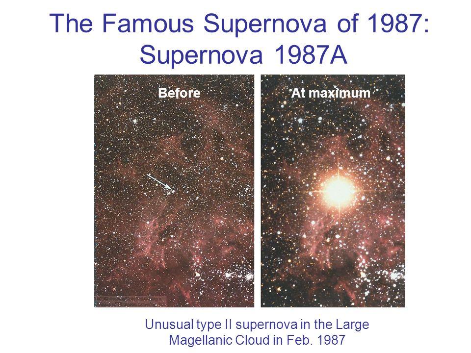 The Famous Supernova of 1987: Supernova 1987A BeforeAt maximum Unusual type II supernova in the Large Magellanic Cloud in Feb.