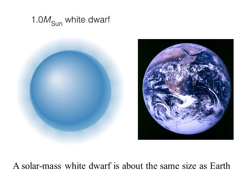A solar-mass white dwarf is about the same size as Earth