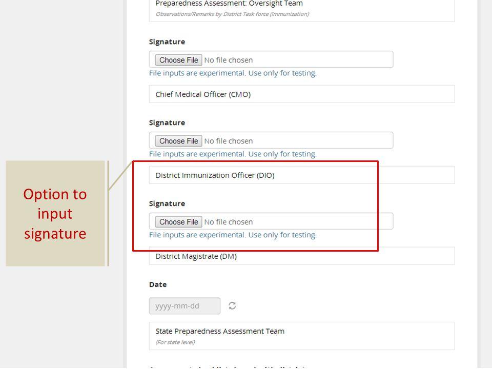 Option to input signature