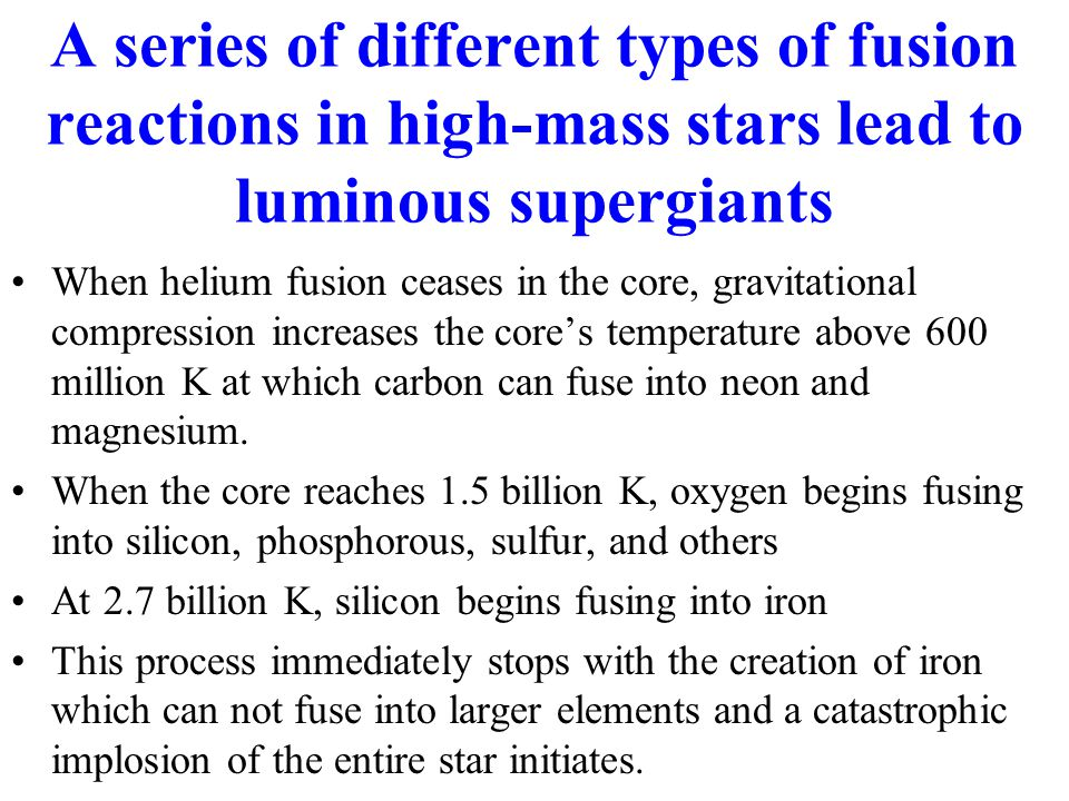 When helium fusion ceases in the core, gravitational compression increases the core's temperature above 600 million K at which carbon can fuse into neon and magnesium.
