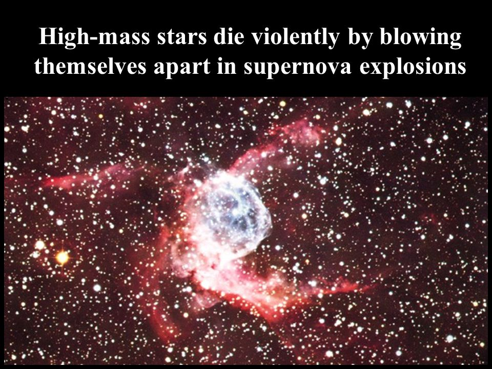 High-mass stars die violently by blowing themselves apart in supernova explosions
