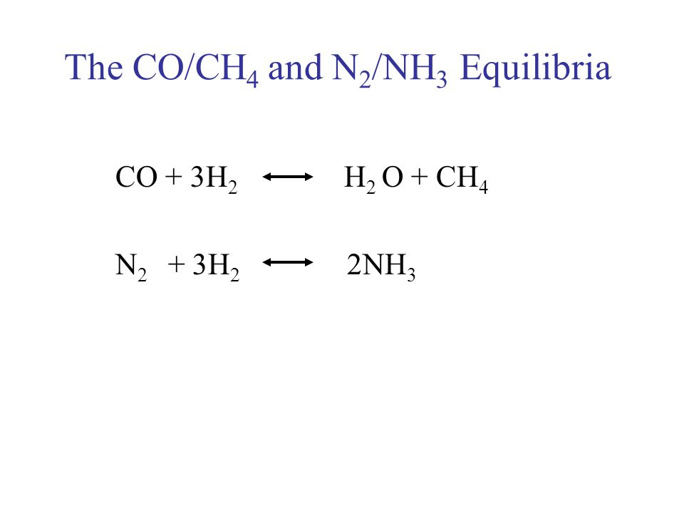 The CO/CH 4 and N 2 /NH 3 Equilibria CO + 3H 2 H 2 O + CH 4 N 2 + 3H 2 2NH 3