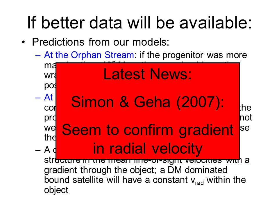 If better data will be available: Predictions from our models: –At the Orphan Stream: if the progenitor was more massive than 10 6 M solar than we should see the wrap around of the leading arm at the same position but at different distances & velocities –At UMa II: if the satellite is DM dominated the contours should become smoother; if UMa II is the progenitor of the Orphan Stream the satellite is not well embedded in its DM halo anymore (otherwise there would be no tidal tails) –A disrupting star cluster will show a patchy structure in the mean line-of-sight velocities with a gradient through the object; a DM dominated bound satellite will have a constant v rad within the object Latest News: Simon & Geha (2007): Seem to confirm gradient in radial velocity