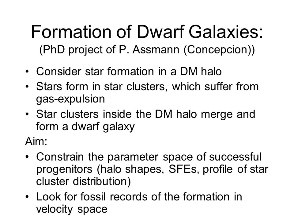 Formation of Dwarf Galaxies: (PhD project of P.