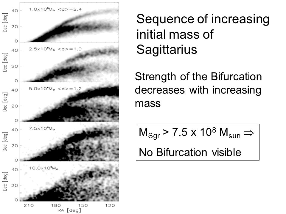 Sequence of increasing initial mass of Sagittarius Strength of the Bifurcation decreases with increasing mass M Sgr > 7.5 x 10 8 M sun  No Bifurcation visible