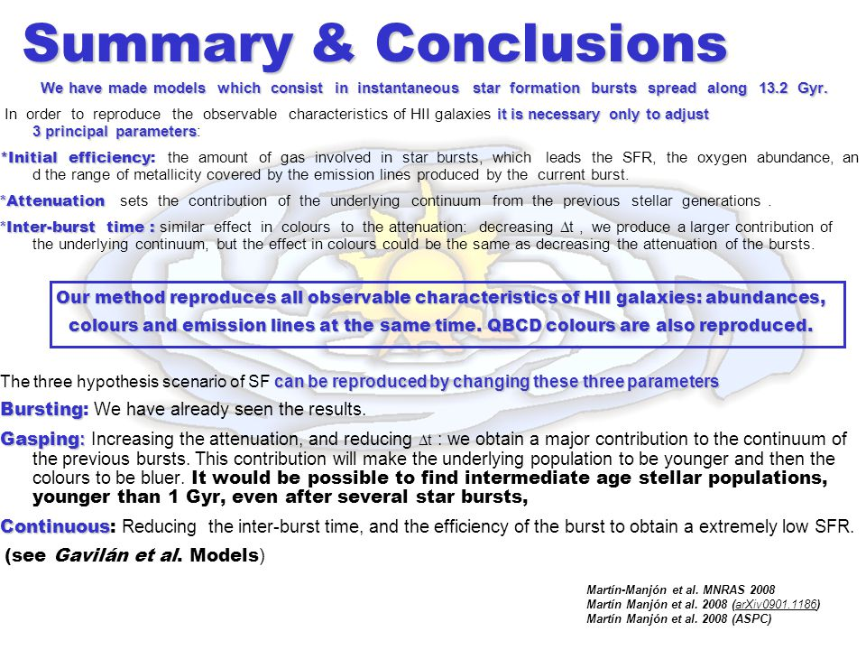 Summary & Conclusions We have made models which consist in instantaneous star formation bursts spread along 13.2 Gyr.