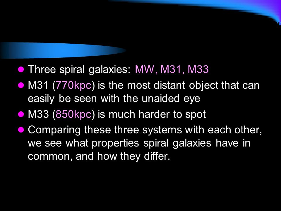 Three spiral galaxies: MW, M31, M33 M31 (770kpc) is the most distant object that can easily be seen with the unaided eye M33 (850kpc) is much harder t