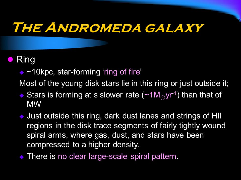 The Andromeda galaxy Ring  ~10kpc, star-forming 'ring of fire' Most of the young disk stars lie in this ring or just outside it;  Stars is forming a