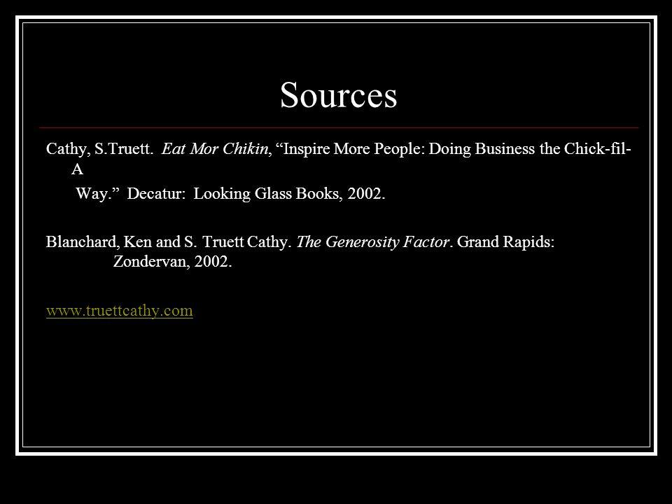Sources Cathy, S.Truett.