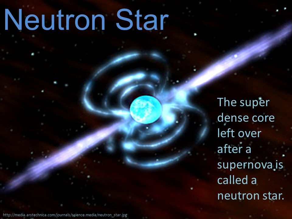 Neutron Star http://media.arstechnica.com/journals/science.media/neutron_star.jpg The super dense core left over after a supernova is called a neutron star.
