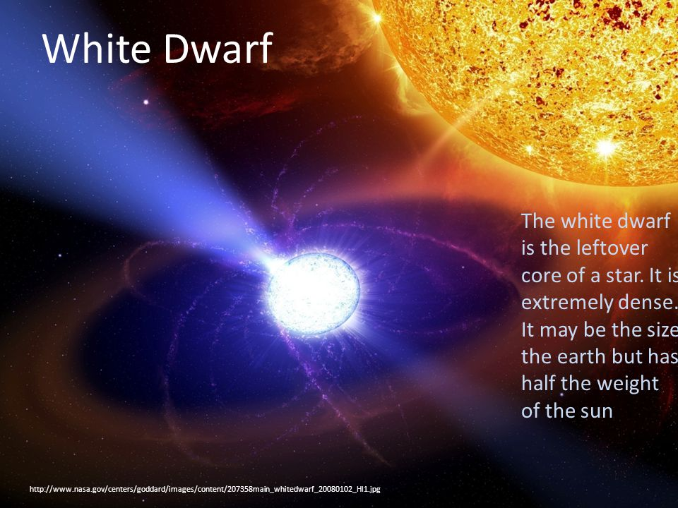 White Dwarf http://www.nasa.gov/centers/goddard/images/content/207358main_whitedwarf_20080102_HI1.jpg White Dwarf The white dwarf is the leftover core of a star.
