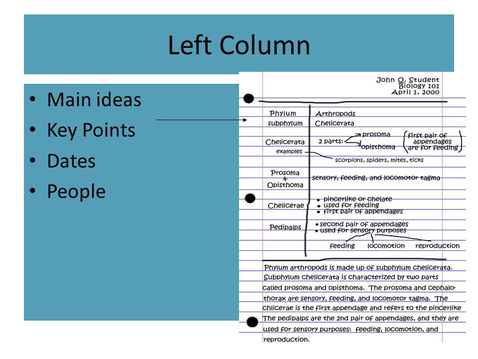 Left Column Main ideas Key Points Dates People
