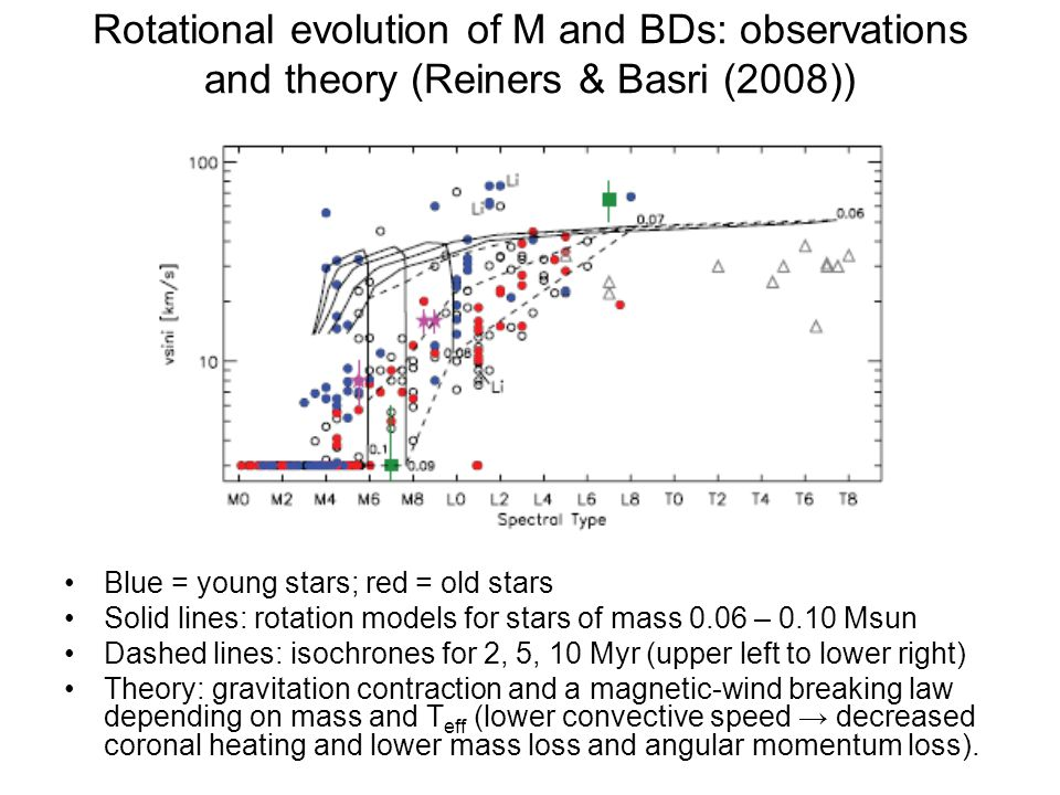 Rotational evolution of M and BDs: observations and theory (Reiners & Basri (2008)) Blue = young stars; red = old stars Solid lines: rotation models for stars of mass 0.06 – 0.10 Msun Dashed lines: isochrones for 2, 5, 10 Myr (upper left to lower right) Theory: gravitation contraction and a magnetic-wind breaking law depending on mass and T eff (lower convective speed → decreased coronal heating and lower mass loss and angular momentum loss).