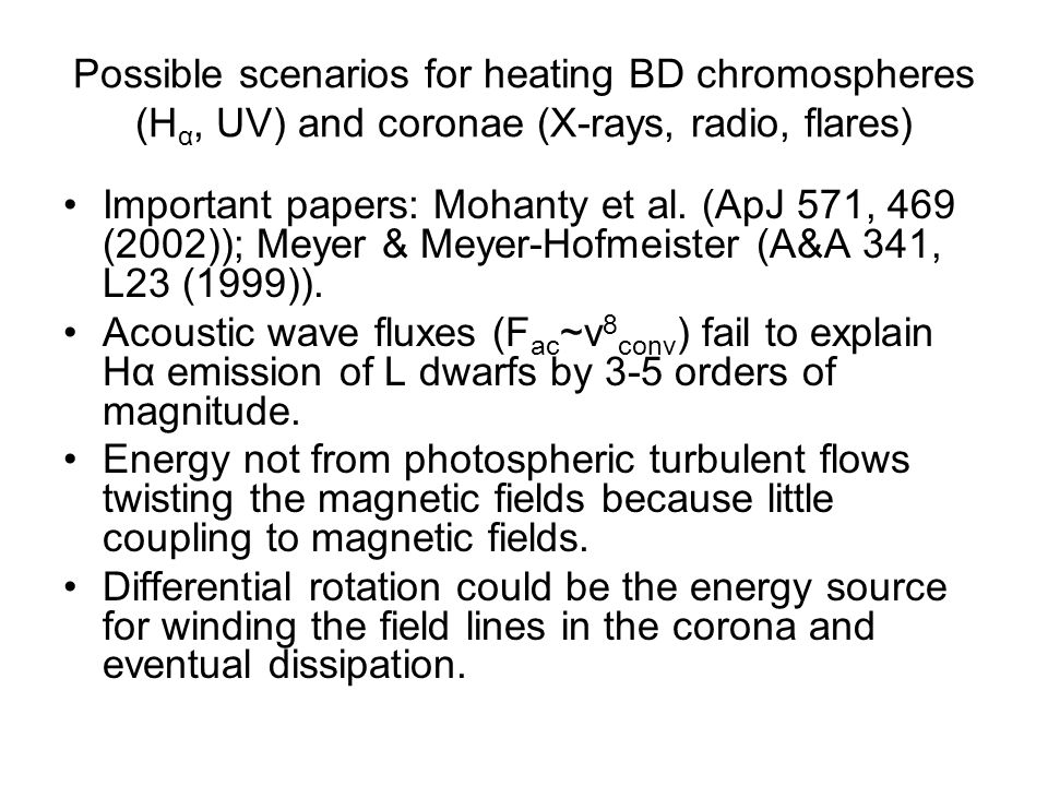Possible scenarios for heating BD chromospheres (H α, UV) and coronae (X-rays, radio, flares) Important papers: Mohanty et al.