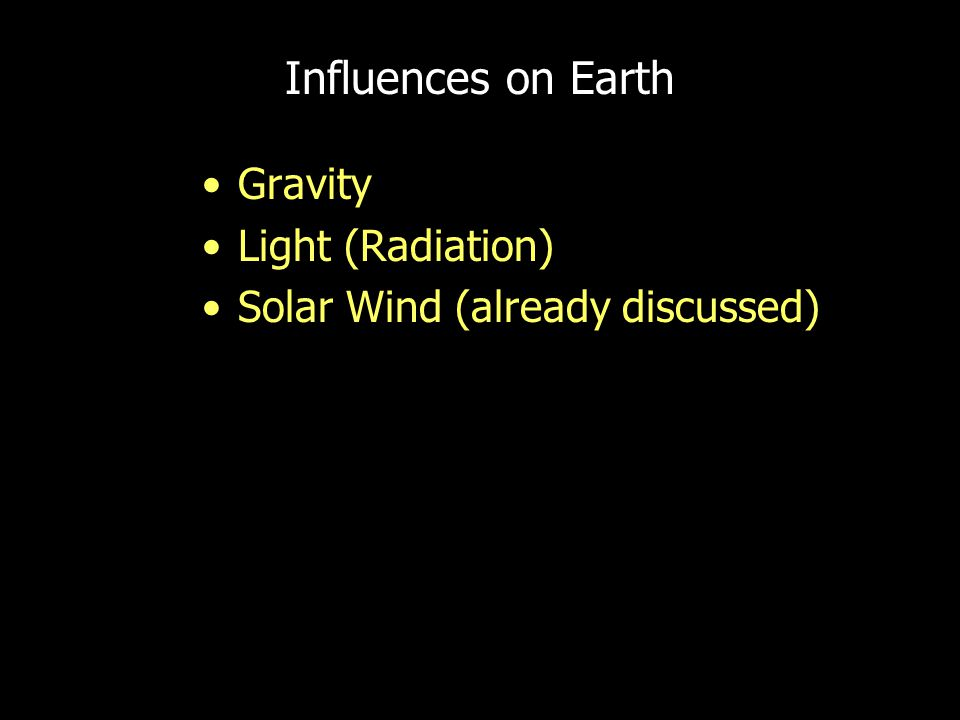 Influences on Earth Gravity Light (Radiation) Solar Wind (already discussed)