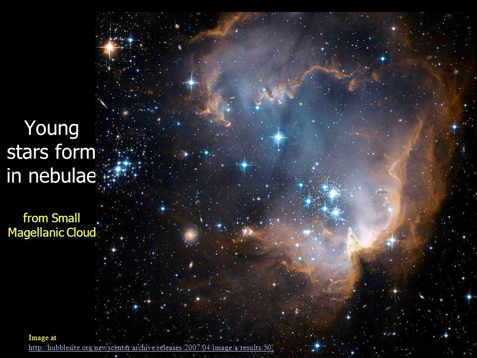 Young stars form in nebulae from Small Magellanic Cloud Image at http://hubblesite.org/newscenter/archive/releases/2007/04/image/a/results/50/ http://