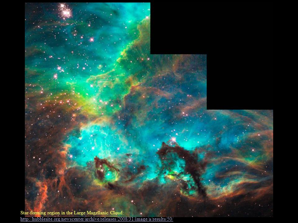 Star-forming region in the Large Magellanic Cloud: http://hubblesite.org/newscenter/archive/releases/2008/31/image/a/results/50/ http://hubblesite.org