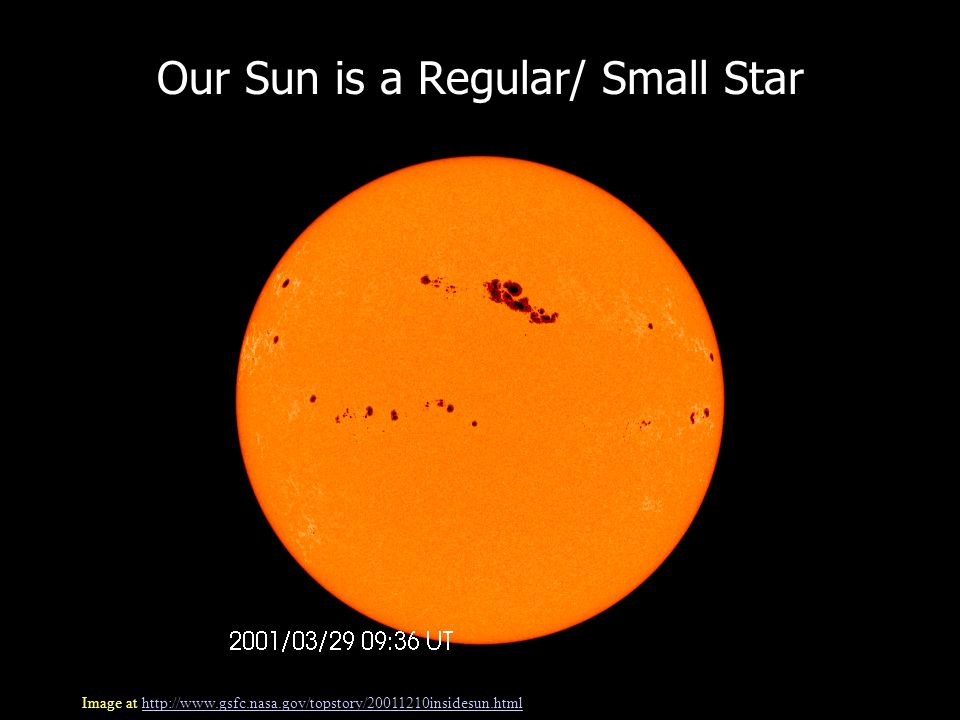 Our Sun is a Regular/ Small Star Image at http://www.gsfc.nasa.gov/topstory/20011210insidesun.htmlhttp://www.gsfc.nasa.gov/topstory/20011210insidesun.