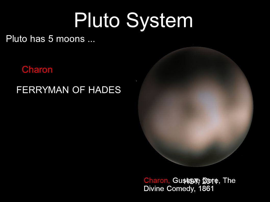 14 Pluto System Pluto has 5 moons... Charon FERRYMAN OF HADES Charon, Gustave Dore, The Divine Comedy, 1861 HST, 2011