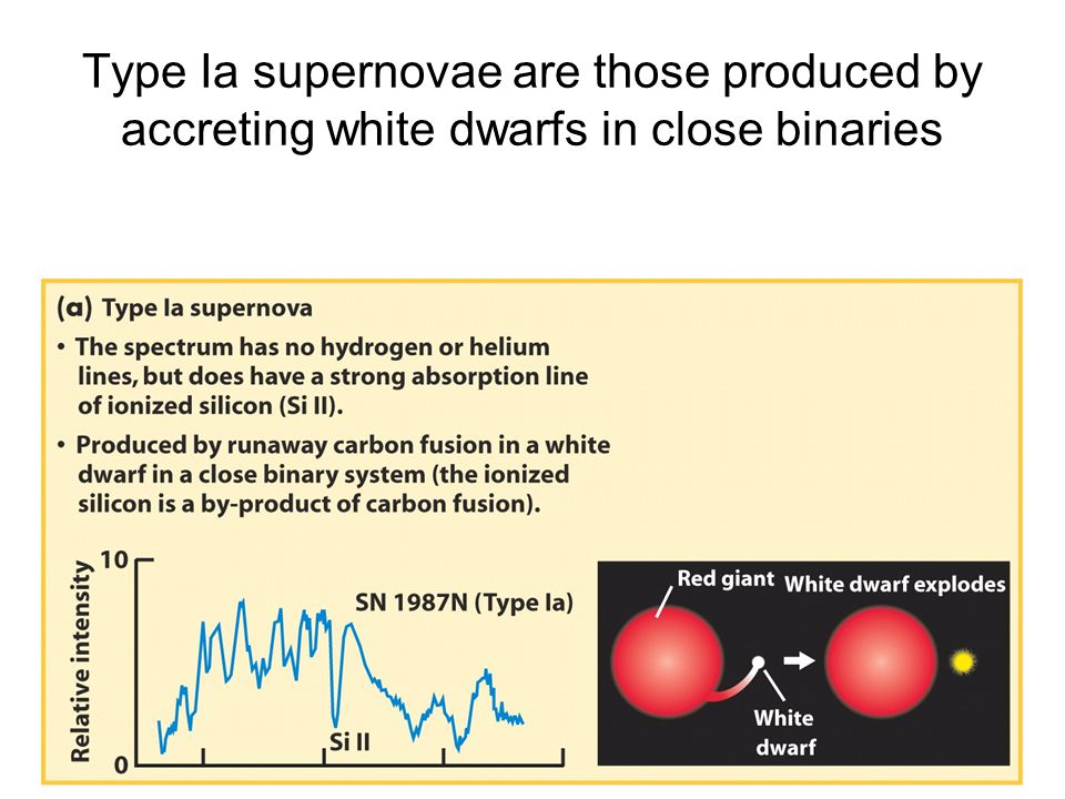 Type Ia supernovae are those produced by accreting white dwarfs in close binaries