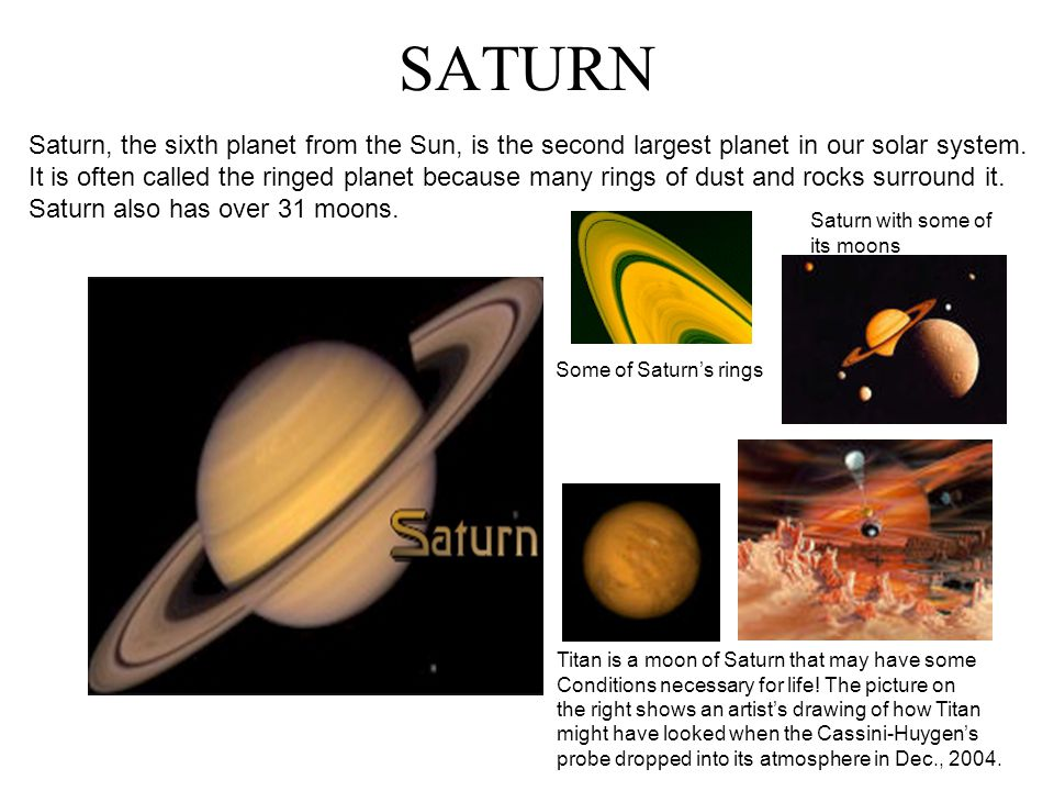 Saturn Saturn was the Roman God of the Harvest and of Time.