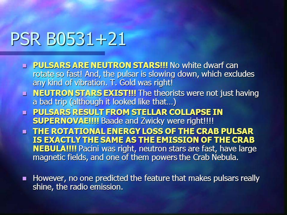 PSR B0531+21 PULSARS ARE NEUTRON STARS!!. No white dwarf can rotate so fast.