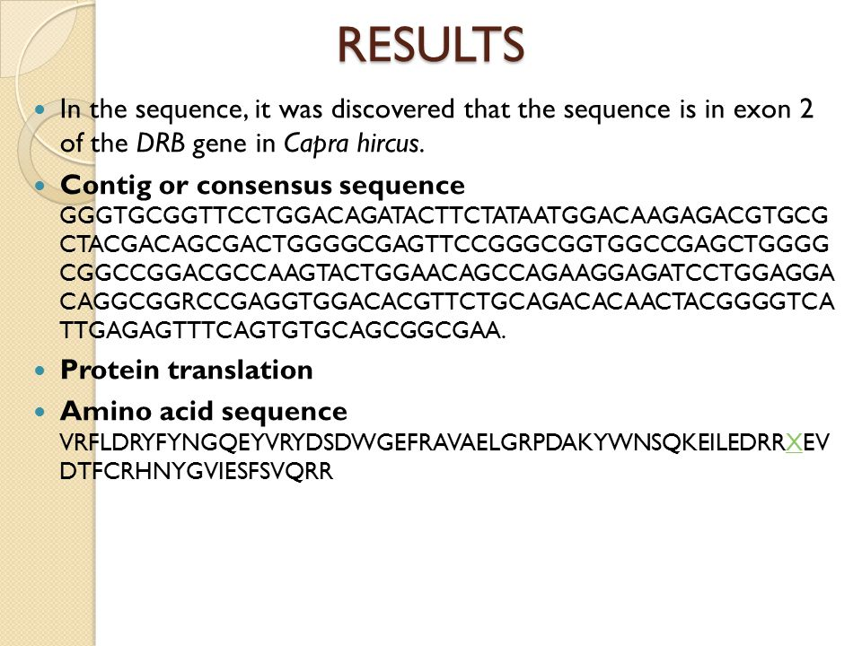 RESULTS In the sequence, it was discovered that the sequence is in exon 2 of the DRB gene in Capra hircus.