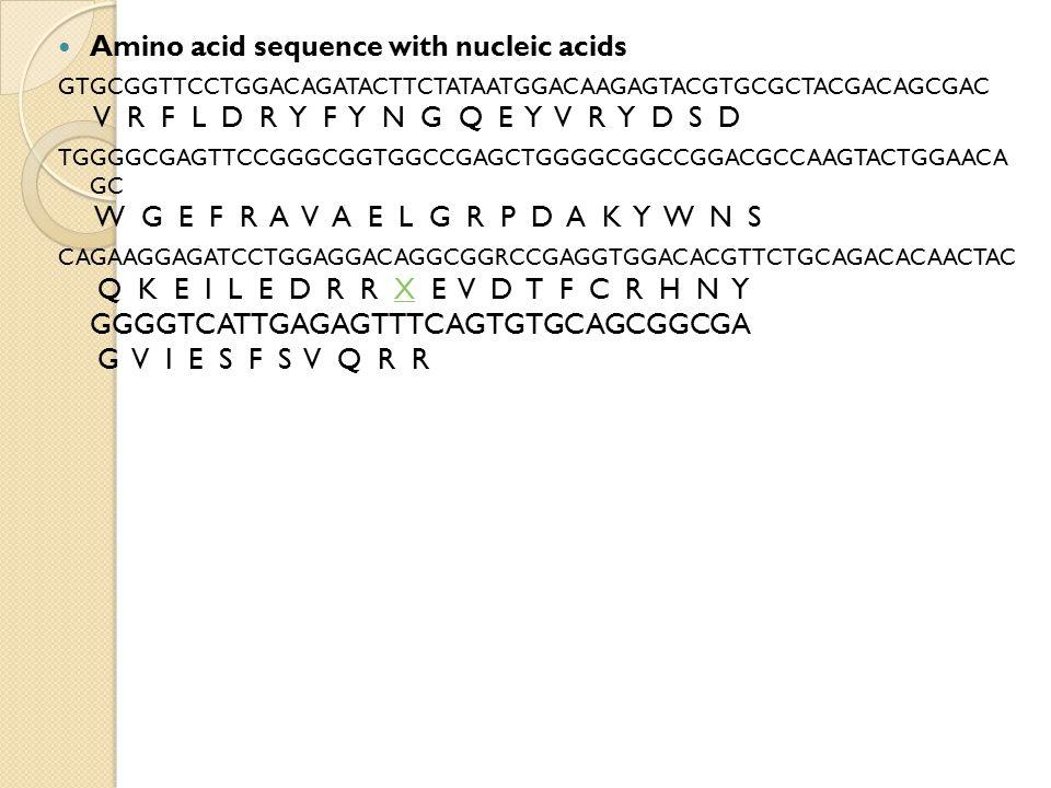 Amino acid sequence with nucleic acids GTGCGGTTCCTGGACAGATACTTCTATAATGGACAAGAGTACGTGCGCTACGACAGCGAC V R F L D R Y F Y N G Q E Y V R Y D S D TGGGGCGAGT
