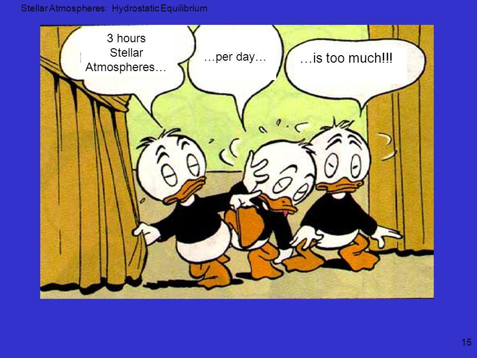 Stellar Atmospheres: Hydrostatic Equilibrium 15 3 hours Stellar Atmospheres… …per day… …is too much!!!