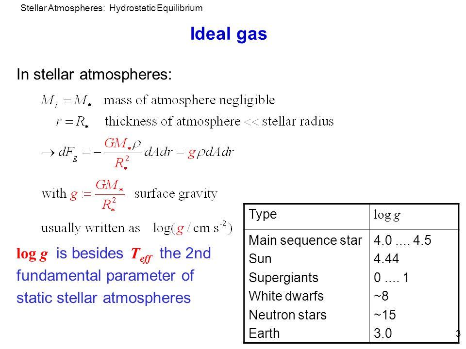 Stellar Atmospheres: Hydrostatic Equilibrium 3 Ideal gas In stellar atmospheres: log g is besides T eff the 2nd fundamental parameter of static stellar atmospheres Type log g Main sequence star Sun Supergiants White dwarfs Neutron stars Earth 4.0....
