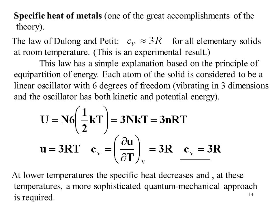 14 Specific heat of metals (one of the great accomplishments of the theory).