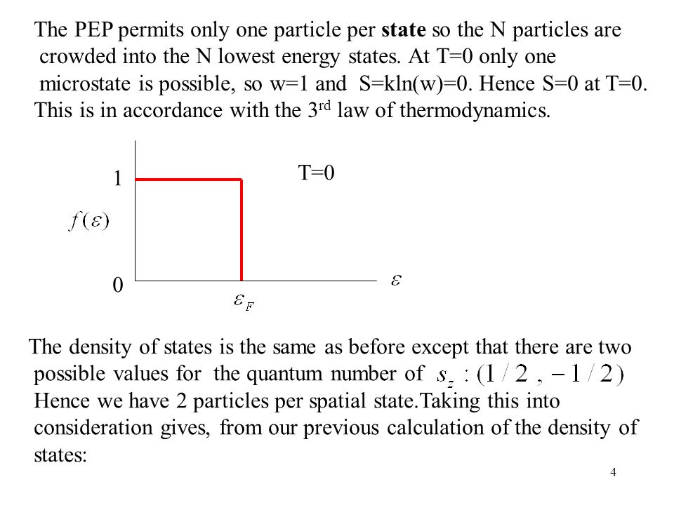 4 The PEP permits only one particle per state so the N particles are crowded into the N lowest energy states.