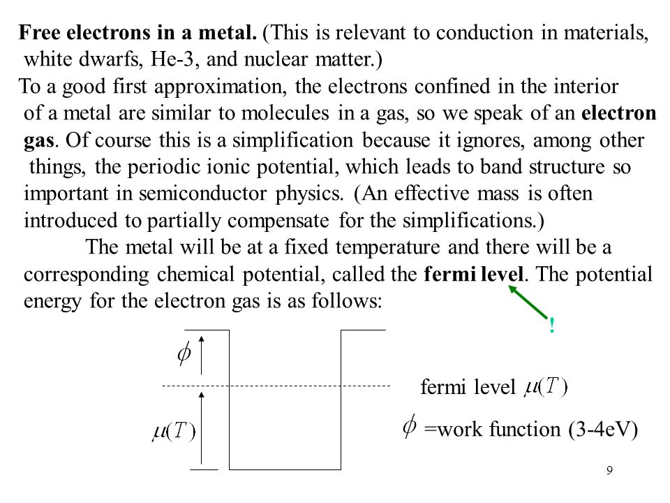 9 Free electrons in a metal.