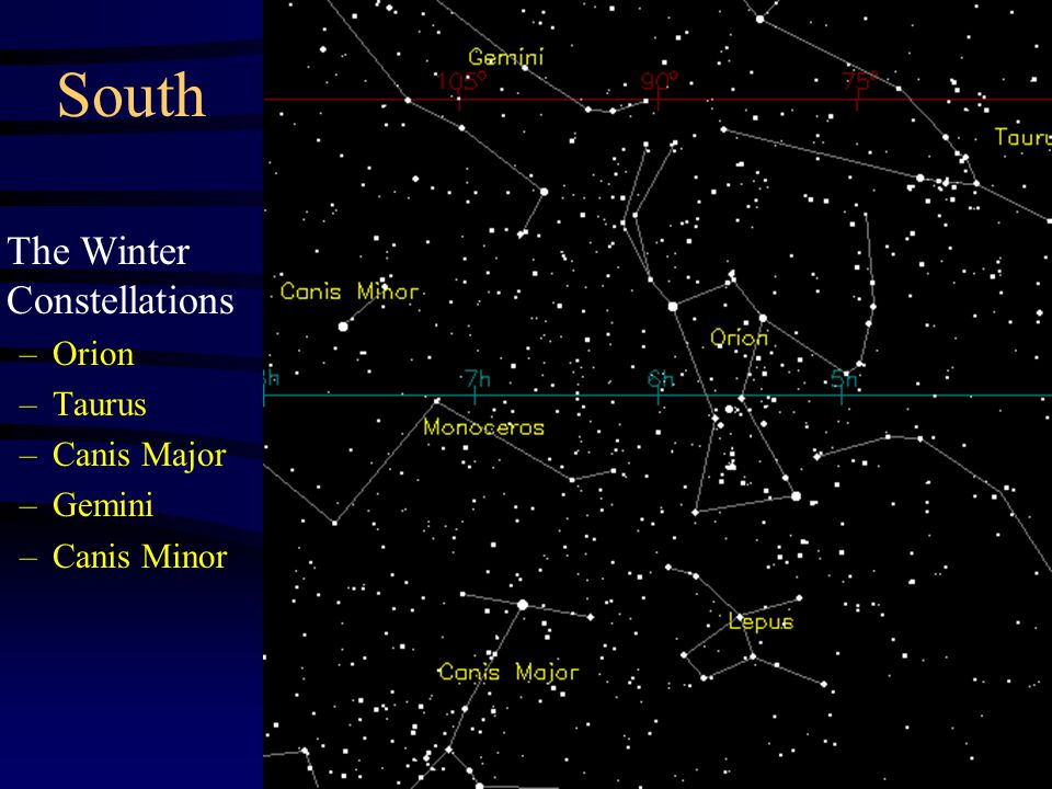 South The Winter Constellations –Orion –Taurus –Canis Major –Gemini –Canis Minor