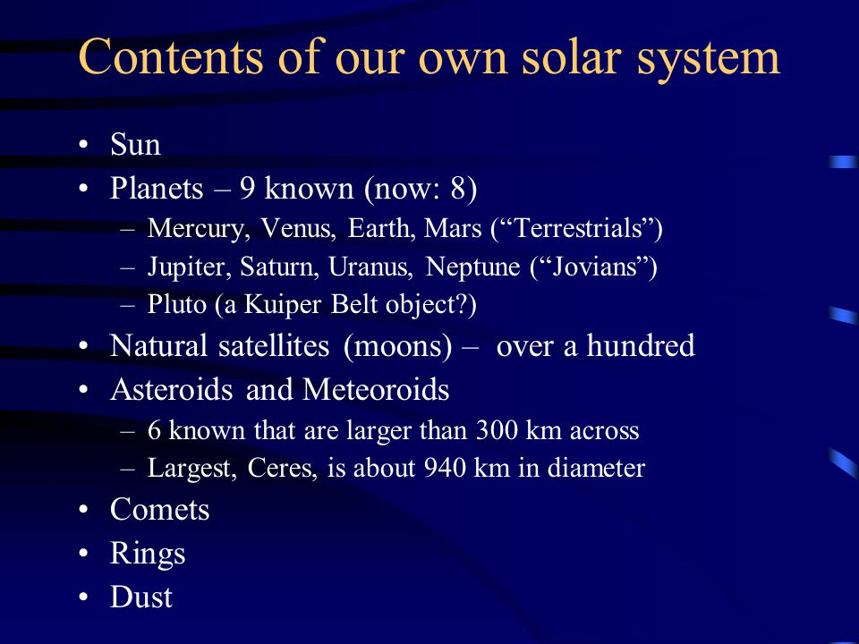 Contents of our own solar system Sun Planets – 9 known (now: 8) –Mercury, Venus, Earth, Mars ( Terrestrials ) –Jupiter, Saturn, Uranus, Neptune ( Jovians ) –Pluto (a Kuiper Belt object?) Natural satellites (moons) – over a hundred Asteroids and Meteoroids –6 known that are larger than 300 km across –Largest, Ceres, is about 940 km in diameter Comets Rings Dust