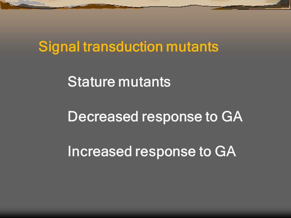 Signal transduction mutants Stature mutants Decreased response to GA Increased response to GA