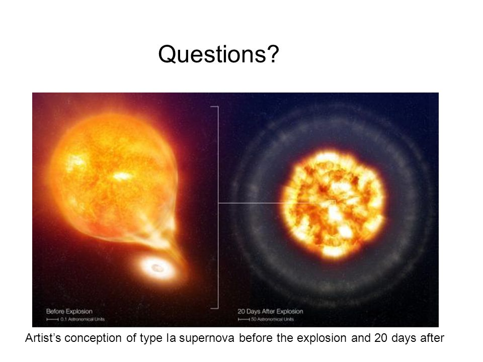 Questions Artist's conception of type Ia supernova before the explosion and 20 days after