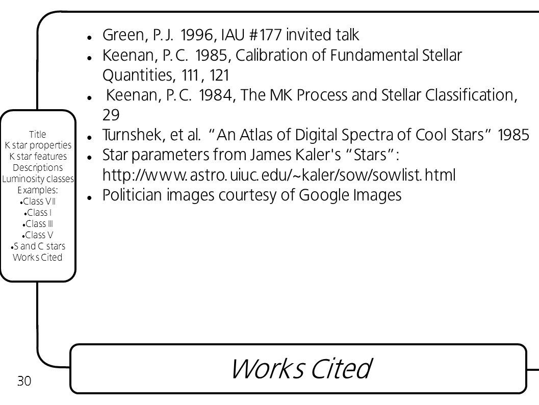 30 Green, P.J. 1996, IAU #177 invited talk Keenan, P.C.