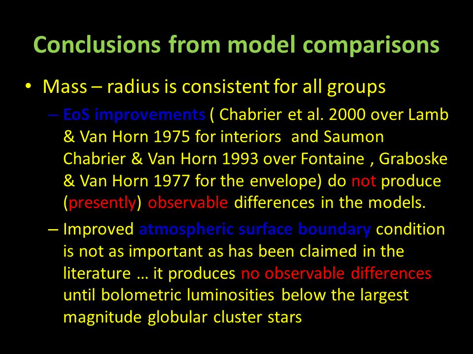 Conclusions from model comparisons Mass – radius is consistent for all groups – EoS improvements ( Chabrier et al.