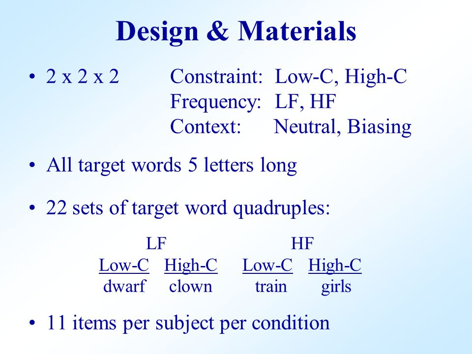 2 x 2 x 2Constraint: Low-C, High-C Frequency: LF, HF Context: Neutral, Biasing All target words 5 letters long 22 sets of target word quadruples: LF H
