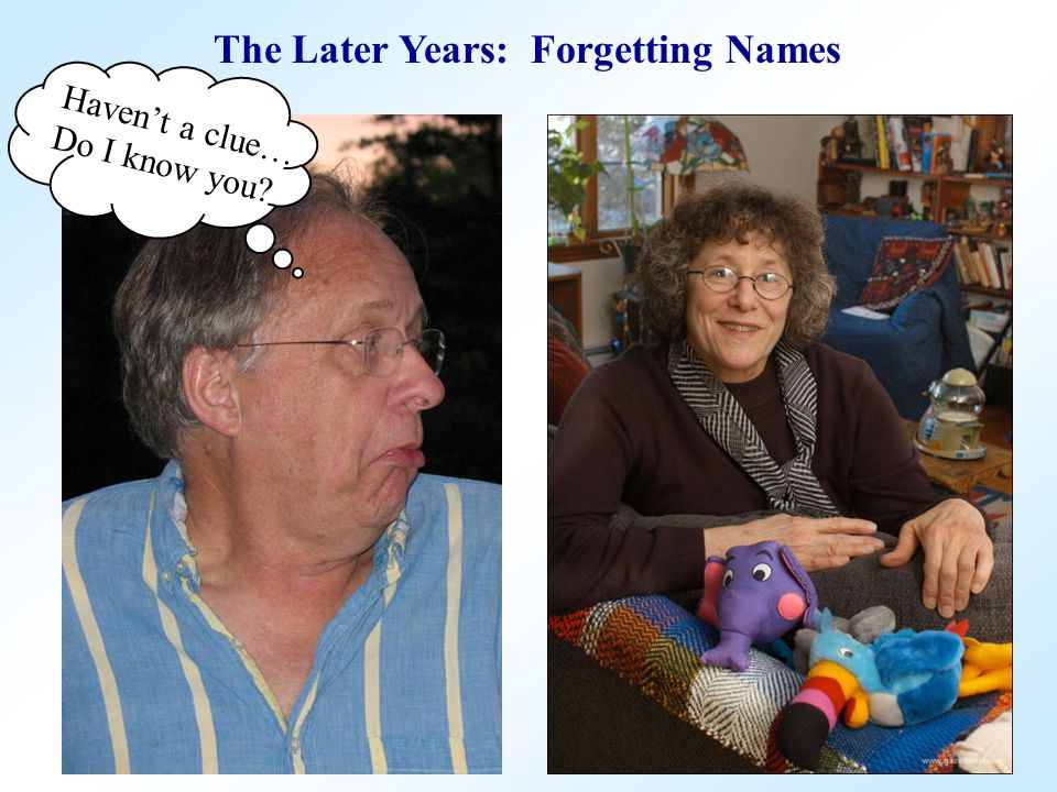 The Later Years: Forgetting Names Haven't a clue… Do I know you?